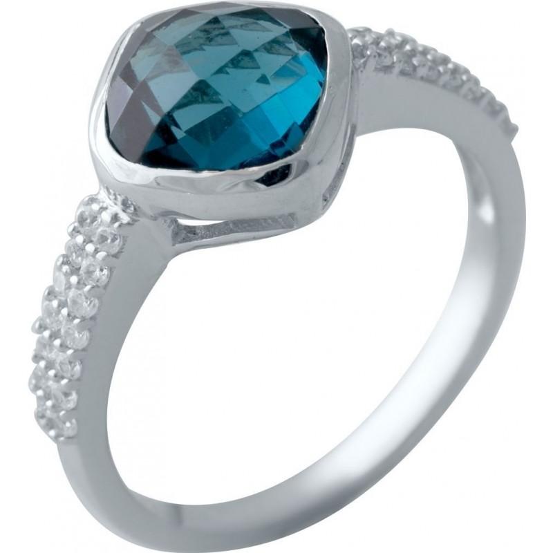 Серебряное кольцо SilverBreeze с натуральным топазом Лондон Блю (2019930) 17.5 размер