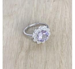 Серебряное кольцо SilverBreeze с натуральным аметистом (1965917) 18 размер