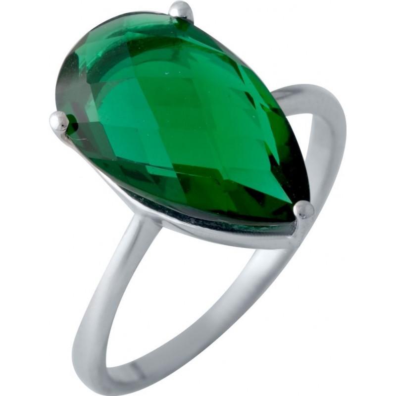 Серебряное кольцо SilverBreeze с изумрудом nano (2018100) 17 размер