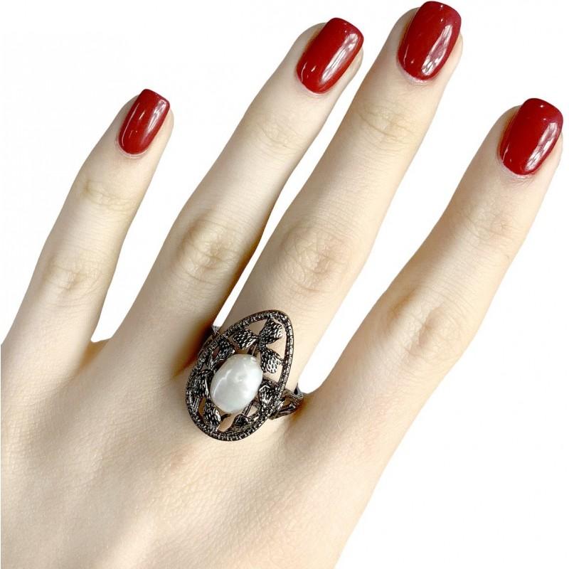 Серебряное кольцо SilverBreeze с натуральным жемчугом (1956977) 17 размер
