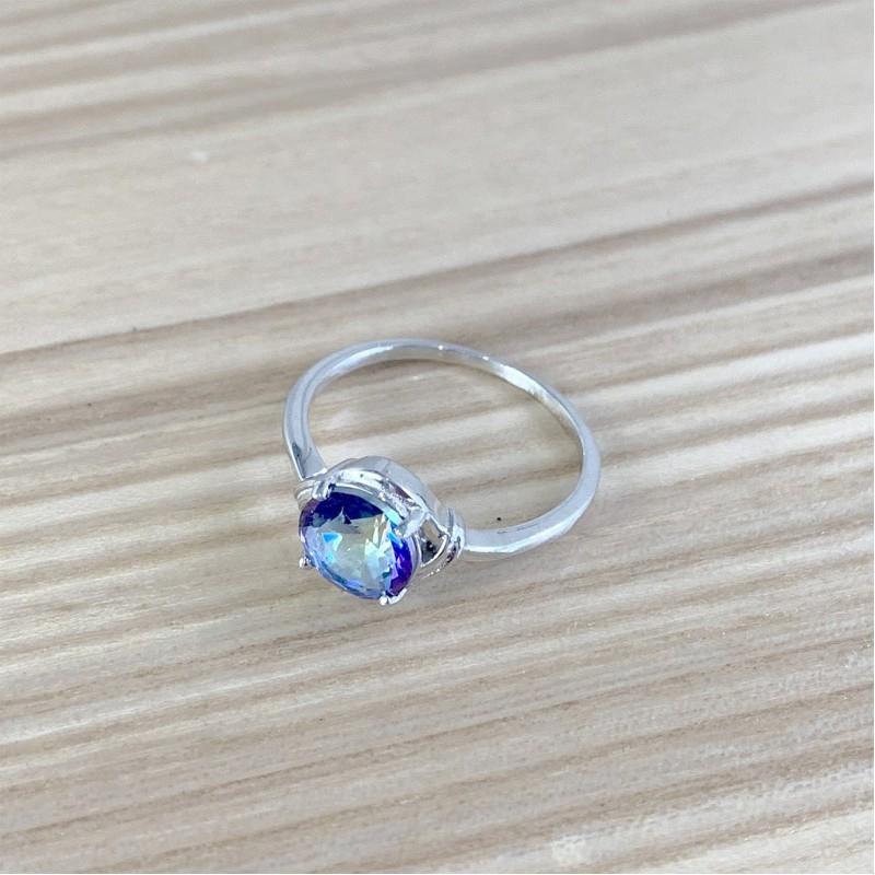 Серебряное кольцо SilverBreeze с натуральным мистик топазом (1960905) 17.5 размер