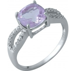 Серебряное кольцо SilverBreeze с натуральным аметистом (1969977) 17 размер