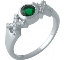 Серебряное кольцо SilverBreeze с изумрудом nano (2012733) 18 размер