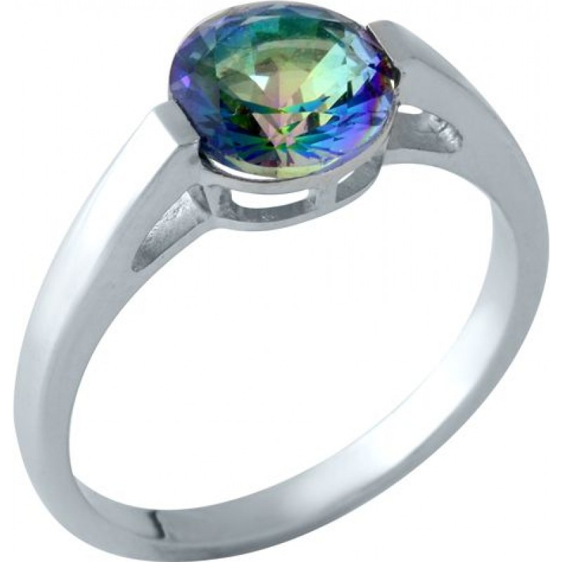 Серебряное кольцо SilverBreeze с натуральным мистик топазом (1961001) 18.5 размер