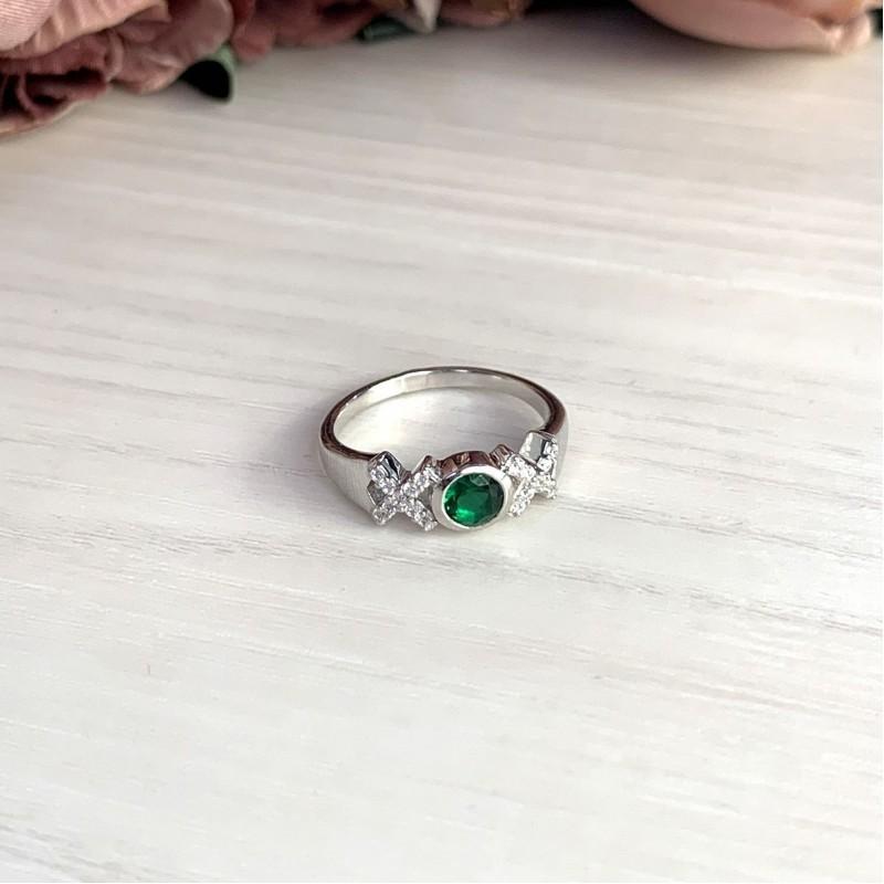 Серебряное кольцо SilverBreeze с изумрудом nano (2012733) 17.5 размер