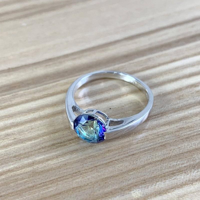 Серебряное кольцо SilverBreeze с натуральным мистик топазом (1961001) 17.5 размер