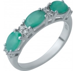 Серебряное кольцо SilverBreeze с натуральным изумрудом (1929667) 18.5 размер