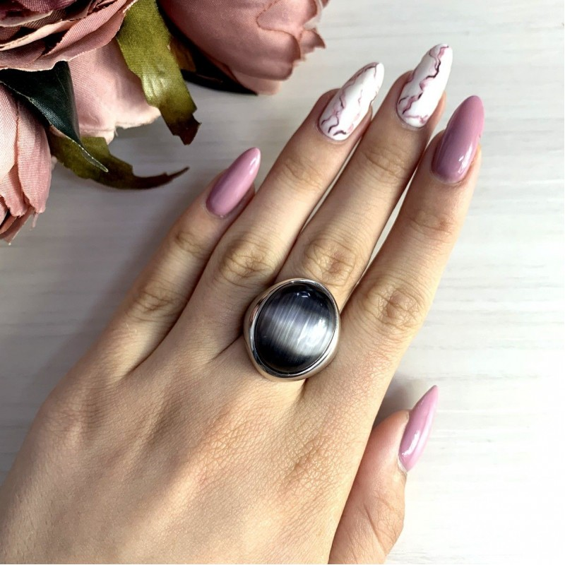 Серебряное кольцо SilverBreeze с кошачим глазом (1974124) 17.5 размер