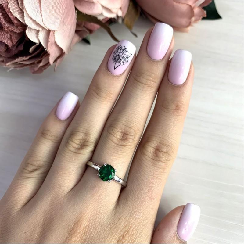 Серебряное кольцо SilverBreeze с изумрудом nano (2012740) 19 размер