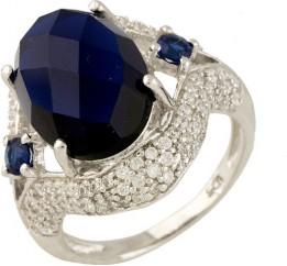 Серебряное кольцо SilverBreeze с сапфиром nano (0699776) 17.5 размер