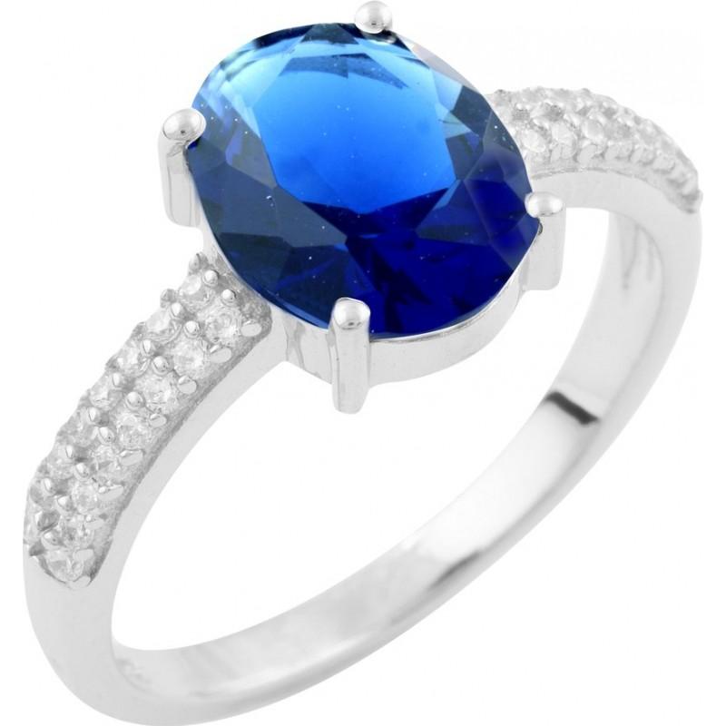 Серебряное кольцо SilverBreeze с сапфиром nano (1633502) 18 размер
