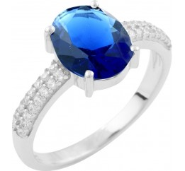 Серебряное кольцо SilverBreeze с сапфиром nano (1633502) 17.5 размер