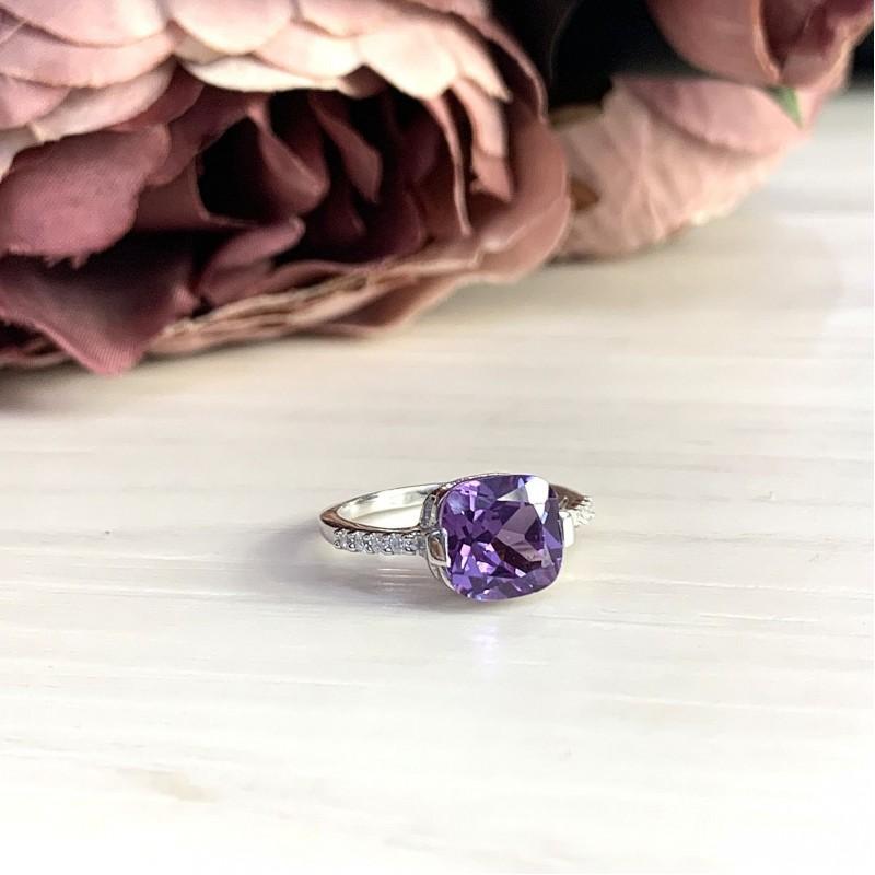 Серебряное кольцо SilverBreeze с олександритом (1633649) 18 размер