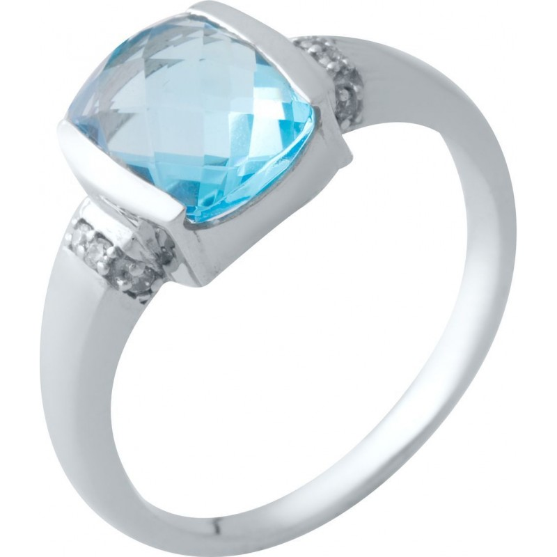 Серебряное кольцо SilverBreeze с аквамарином nano (2016533) 17 размер