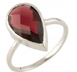 Серебряное кольцо SilverBreeze с натуральным гранатом (0713243) 17 размер
