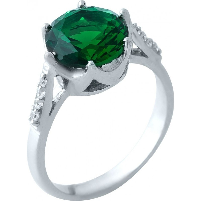 Серебряное кольцо SilverBreeze с изумрудом nano (1966440) 18 размер