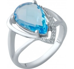 Серебряное кольцо SilverBreeze с аквамарином nano (2016601) 18.5 размер