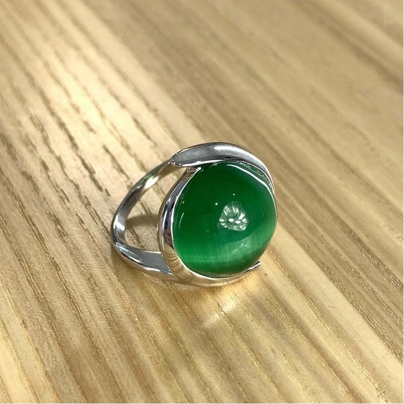 Серебряное кольцо SilverBreeze с кошачим глазом (1984574) 17.5 размер