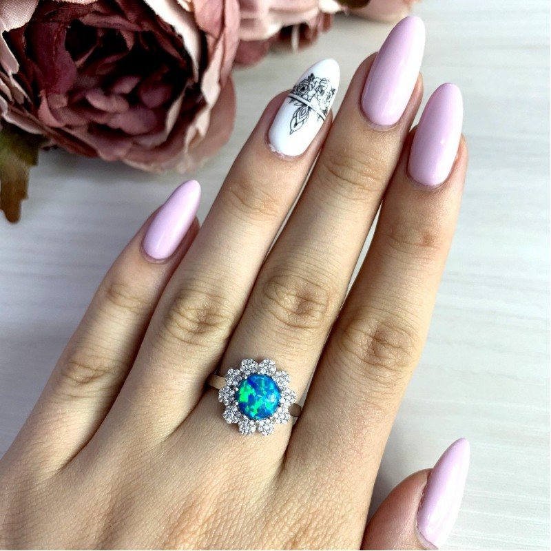 Серебряное кольцо SilverBreeze с опалом (1970454) 17.5 размер