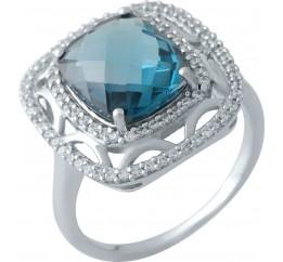 Серебряное кольцо SilverBreeze с натуральным топазом Лондон Блю (1970478) 18.5 размер