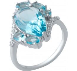 Серебряное кольцо SilverBreeze с аквамарином nano (2016670) 18.5 размер