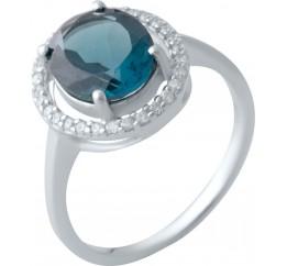 Серебряное кольцо SilverBreeze с натуральным топазом Лондон Блю (2020196) 17 размер