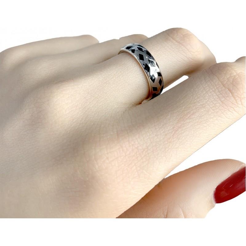 Серебряное кольцо SilverBreeze с емаллю (1985953) 17.5 размер