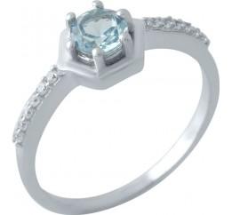 Серебряное кольцо SilverBreeze с натуральным топазом Лондон Блю (1970522) 18 размер