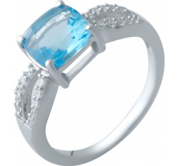 Серебряное кольцо SilverBreeze с аквамарином nano (2016700) 17.5 размер