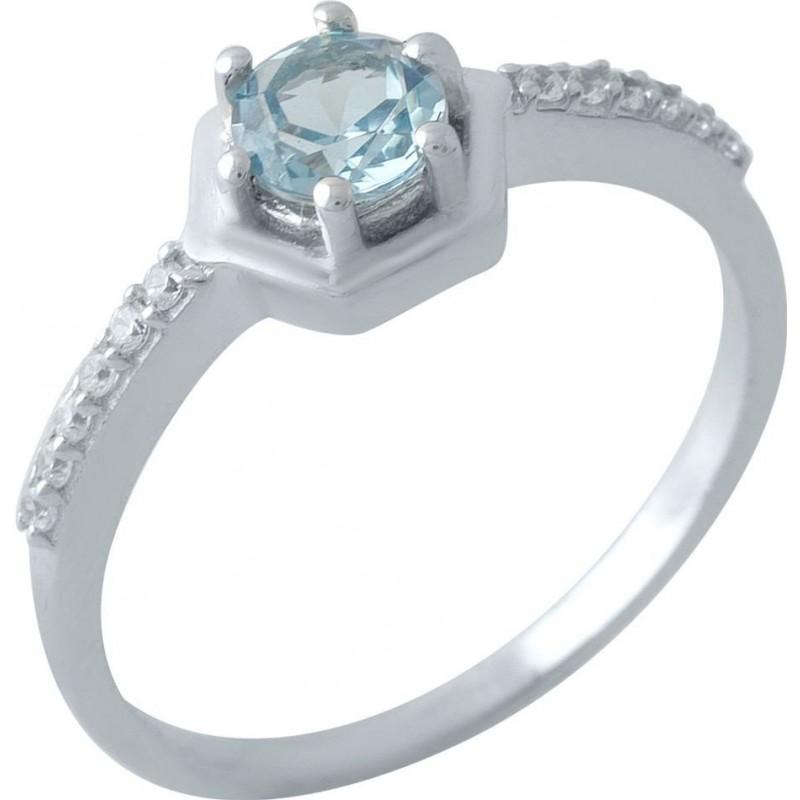 Серебряное кольцо SilverBreeze с натуральным топазом Лондон Блю (1970522) 17.5 размер