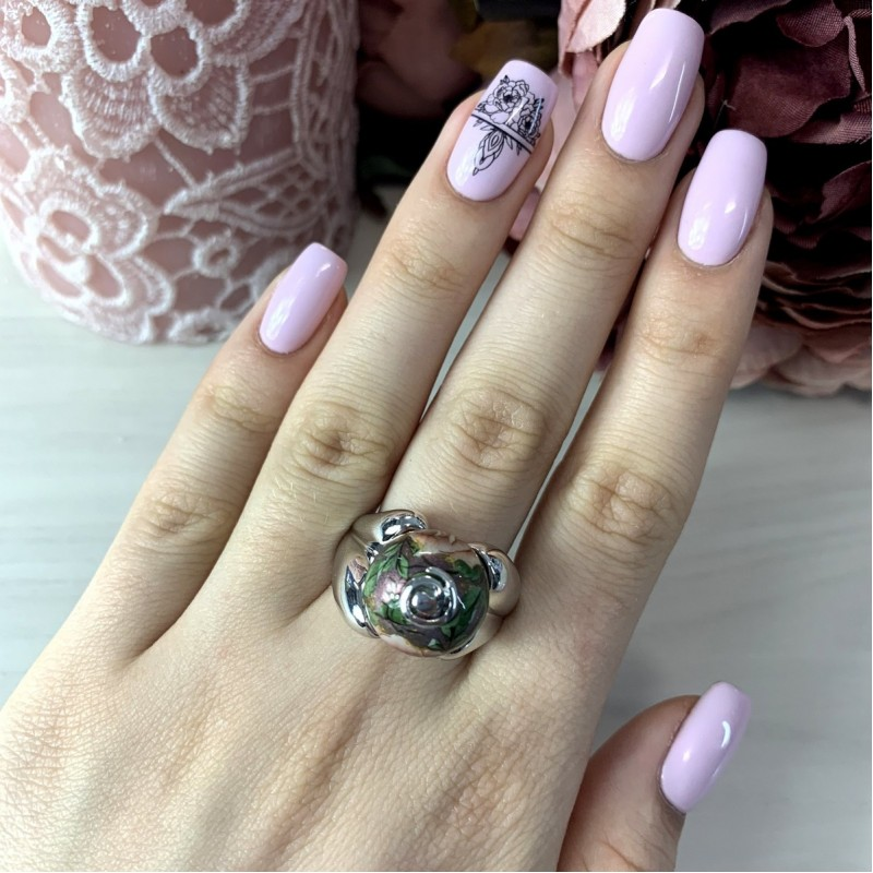 Серебряное кольцо SilverBreeze с емаллю (2004103) 18 размер
