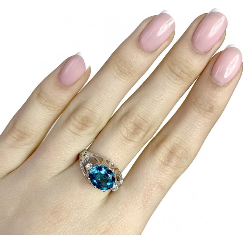 Серебряное кольцо SilverBreeze с натуральным топазом Лондон Блю (1970546) 18 размер