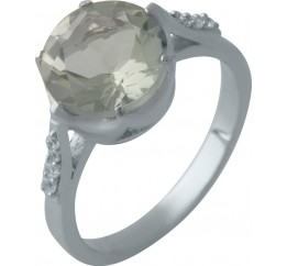 Серебряное кольцо SilverBreeze с натуральным зеленим аметистом (2004455) 18.5 размер