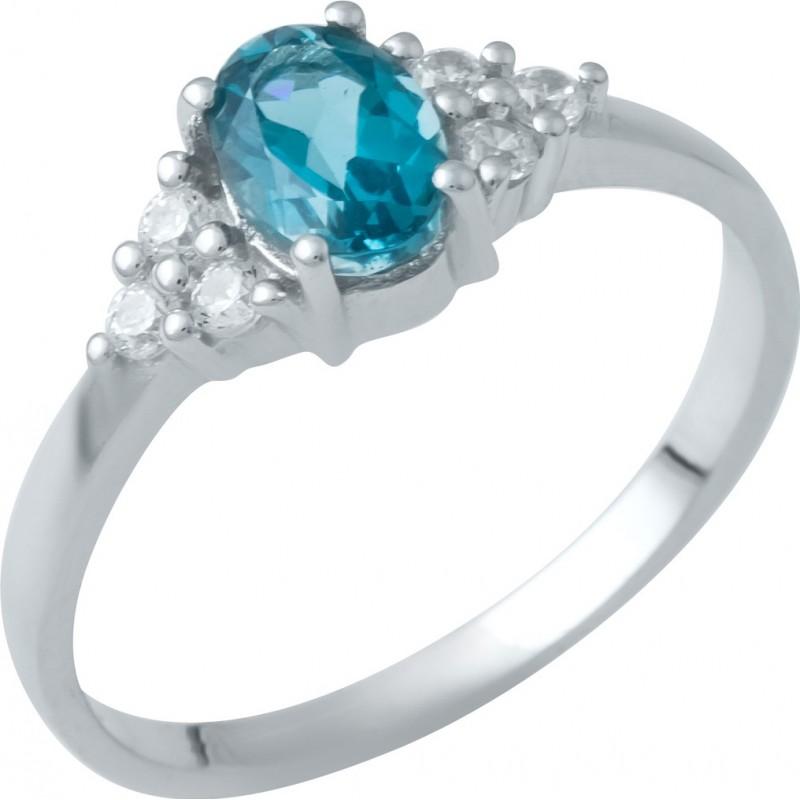 Серебряное кольцо SilverBreeze с натуральным топазом Лондон Блю (1949368) 17 размер