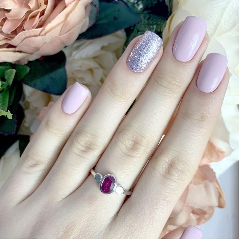 Серебряное кольцо SilverBreeze с натуральным рубином (1933961) 18 размер
