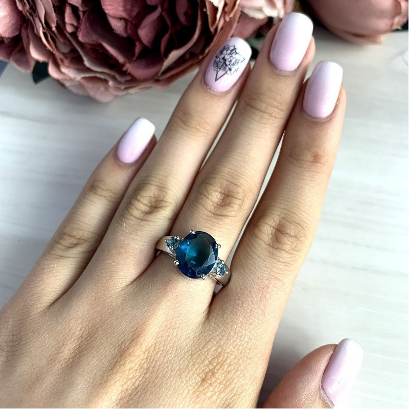 Серебряное кольцо SilverBreeze с натуральным топазом Лондон Блю (1997338) 17.5 размер