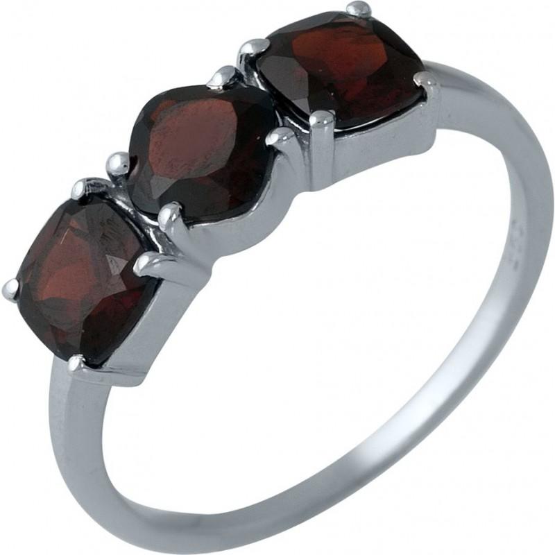 Серебряное кольцо SilverBreeze с натуральным гранатом (1987582) 17 размер