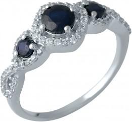 Серебряное кольцо SilverBreeze с натуральным сапфиром (1987636) 17 размер