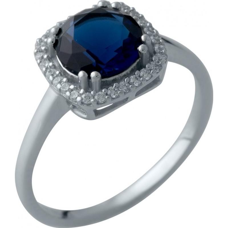 Серебряное кольцо SilverBreeze с сапфиром nano (2006923) 18 размер