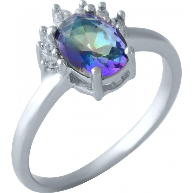 Серебряное кольцо SilverBreeze с натуральным мистик топазом (1960974) 17.5 размер