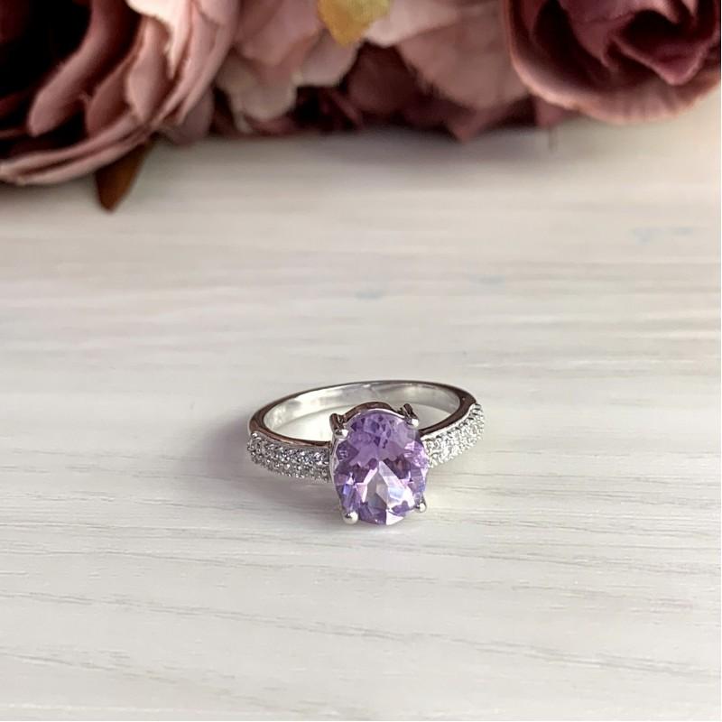 Серебряное кольцо SilverBreeze с натуральным аметистом (2007258) 18 размер