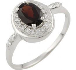 Серебряное кольцо SilverBreeze с натуральным гранатом (1090329) 17.5 размер