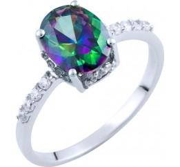 Серебряное кольцо SilverBreeze с натуральным мистик топазом (1734339) 18 размер