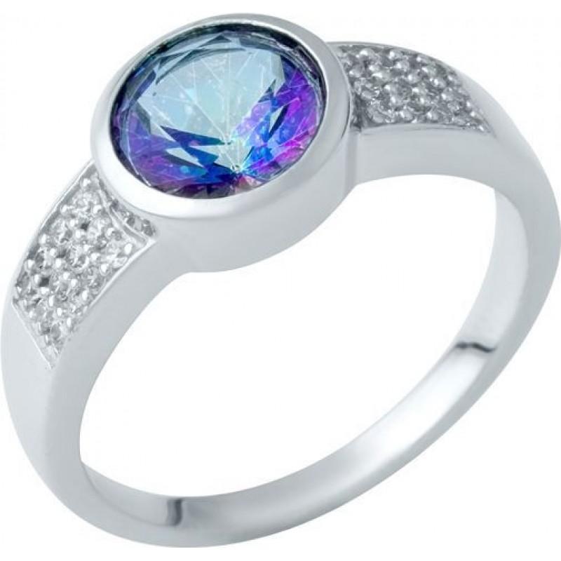 Серебряное кольцо SilverBreeze с натуральным мистик топазом (1937471) 18 размер