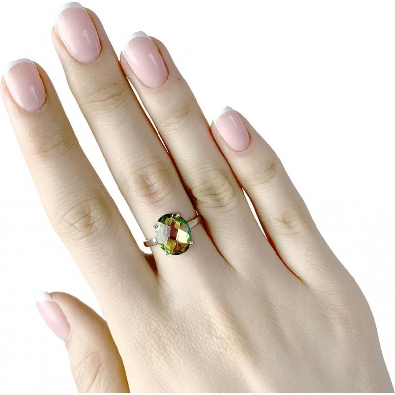 Серебряное кольцо SilverBreeze с натуральным мистик топазом (1988343) 17.5 размер