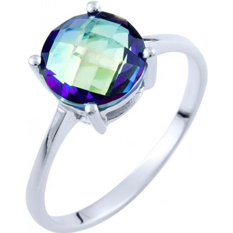 Серебряное кольцо SilverBreeze с натуральным мистик топазом (1734346) 18 размер
