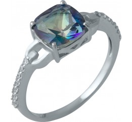 Серебряное кольцо SilverBreeze с натуральным мистик топазом (1988350) 17.5 размер
