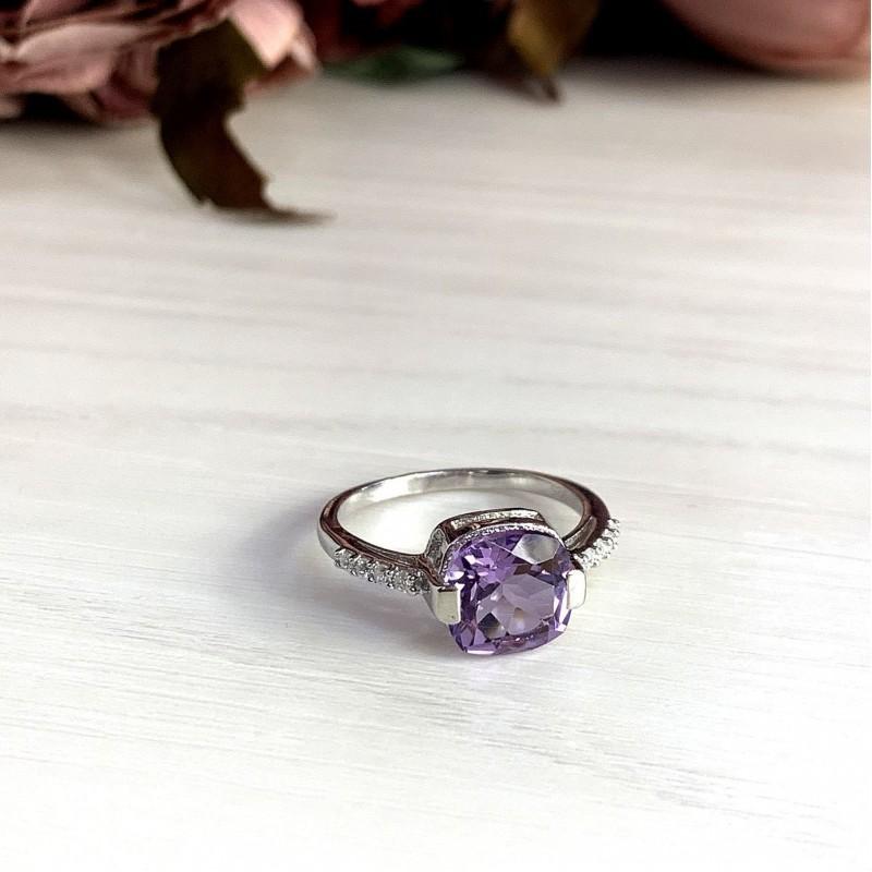 Серебряное кольцо SilverBreeze с натуральным аметистом (2020585) 18 размер