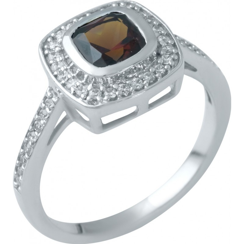 Серебряное кольцо SilverBreeze с натуральным гранатом (1945742) 18 размер