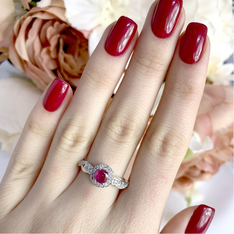 Серебряное кольцо SilverBreeze с натуральным рубином (1947036) 18.5 размер
